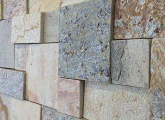 Mosaico de Pedra São Tomé Amarela Mesclada Serrada - 5x5, 5x10, 10x10 cm